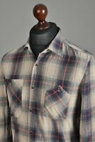 Men's NUDIE JEANS Casual Shirt Long Sleeve Cotton Blue Beige Checked Size M