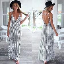 Full Length V Neck Cotton Blend Striped Dresses for Women