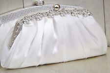 Ivory Diamante Crystal Satin Bridal Wedding Prom Purse Clutch Bag Handbag UK