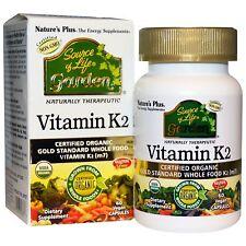 Nature's Plus Source of Life, Garden, Vitamin K2 - Certified Organic - 60 Vcaps