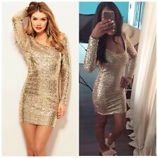 NMT Arden B Gold Backless/Lowback Sequin Dress