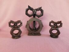A Trio of OWLS Punk Art, Industrial Folk Art