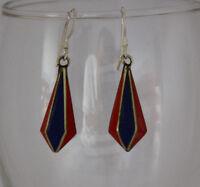 Asian sterling silver brass earring tibetan coral  stone handmade hook tops GLE5
