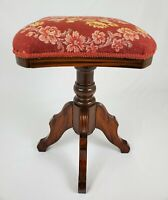 Antique Walnut Wood Piano Stool Swivel Victorian Federal Vintage
