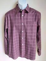 NWOT Eddie Bauer burgundy plaid wrinkle resistant long sleeve shirt mens L