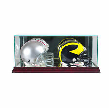 GLASS DOUBLE MINI HELMET DISPLAY CASE UV PROTECTION CHERRY WOOD AND MIRROR BACK