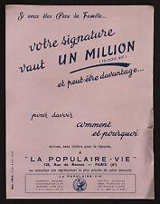 BUVARD PUBLICITAIRE ANCIEN : LA POPULAIRE-VIE - Assurance
