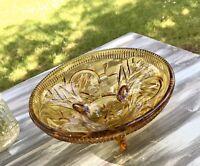 Bernstein Farbe Gelb Art Déco Schale Pressglas Antik Glasschale Obstschale 3fuß
