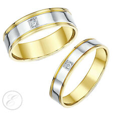 9ct Two Colour Gold Diamond Wedding Rings 4mm 6mm