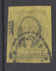 Mexico Sc 9 used. 1861 4r black on yellow Hidalgo, TEPIC overprint, sound.