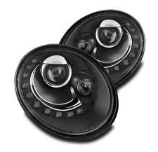2006-2010 VOLKSWAGEN VW BEETLE FRONT LED DRL PROJECTOR HEADLIGHTS LAMP BLACK SET