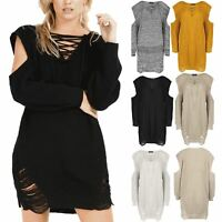 Womens Chunky Knit Cold Shoulder Shredded Lace Up Destroyed Ripped Jumper Dress