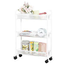 DESIGNA Rolling Cart Trolley 3 Tier Metal Mesh Utility Cart Slim Slide Out with