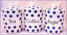 Blue Spots Tea Coffee Sugar Canisters Bone China Storage Jars Set Decorated UK