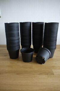 """9cm ( 3.5"""" ) Round Black Plastic Plant Pots ( 102 No. )"""