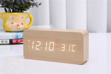 Wooden LED Digital Alarm Clock Voice Control Calendar Thermomete AU