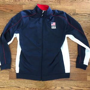 Team Apparel Brand USA Olympic Full Zip Jacket Blue Red White XL EUC