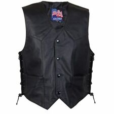 """Mens fit Leather Motorcycle Waiscoat Laced sides (expandable)  - X-Large 46"""""""