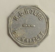 Antique Vtg R.L. Wolfe So. Indiana Whitley GF 10 cents in Trade Token Octagon