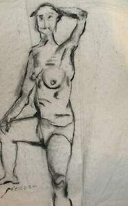 Vintage expressionist nude woman portrait charcoal painting signed