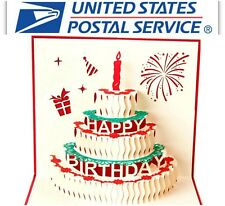 New 3D Greeting Pop Up Birthday Cake Candle Firework Greeting Card