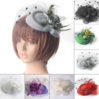 Womens Retro Flower Fascinator Hat Cocktail Headband Hair Clip Wedding Party