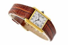 Vintage Must De Cartier Tank 925 Gold Plated Manual Wind Ladies Watch 1392