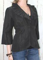 CAbi size 6 Cossette Dinner Jacket Black Peplum 3/4 Sleeve style #693