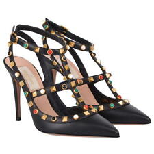 Valentino Rockstud Black leather pumps Heels, Shoes UK7 IT40 NEW Authentic