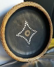 CHINESE EBONIZED WOOD BOWL, W/MOTHER OF PEARL INLAY BRAIDED WICKER. VINTAGE COIN
