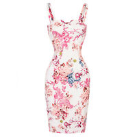 Hearts & Roses London White Floral Retro Vintage 1950s Fitted Pencil Party Dress