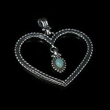 .925 Sterling Silver Natural Turquoise Heart Pendant