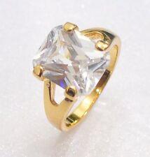 Women Lady 18K Yellow Gold Plated Clear Purple Big Simulated Diamond Ring 6 L