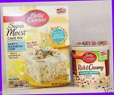 Betty Crocker Super Moist PARTY RAINBOW CHIP Cake Mix + Rich Creamy Frosting SET