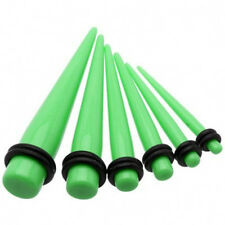 1 Pair Straight Green Acrylic Tapers Piercings Gauges Ear Plugs Stretchers 6g