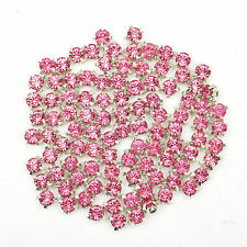 200pcs Crystal Metal Base Rhinestone Bead for Clothes Shoes Decoration 4mm