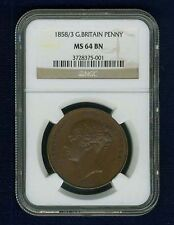 GREAT BRITAIN VICTORIA 1858/3  1 PENNY COIN, UNCIRCULATED, CERTIFIED NGC MS64-BN