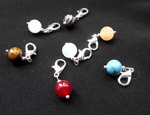 Clip on Gemstone Charms for Bracelet - choice, tiger eye, rose quartz - healing