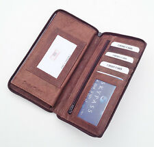 Brown  Leather Zip Cowhide QUALITY Checkbook Cover Organizer Wallet LP498 Nice