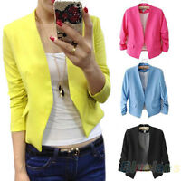 EG_ Slim Design Womens Candy Color Blazer Office Lady Solid Tops Coat Jacket BF1