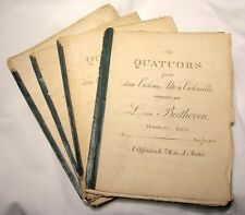 Beethoven 18/19Th C. String Quartet Lot Of 4 Sheet Music Sets - Rare - B.Offer!