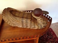 Large Hand Carved Wooden Goose