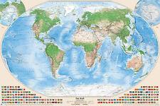 Satellitenbild-Weltkarte, 120x80 cm, deutsch