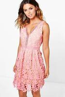 BOOHOO Brand Pink Aiko Lace Ladder Trim Skater Dress Size 14 BNWT #HG41