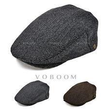 New Men's Wool Blend Herringbone Gatsby Beret Flat Cap Newsboy Autumn Winter Hat