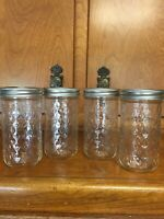 Lot of 4 Ball Quilted Crystal 12oz Jelly Jars Regular Mouth Freezer Safe NEW