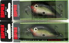 (2) Rapala DT-FAT-03 Wide Body Crankbait Lures Square Lip Bleeding Olive Shiner