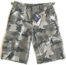 14ffc810f6 Mens Stone Washed Cargo Shorts Black Camo Army Gents 100 Cotton Para  Combats Medium