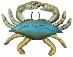 Coastal Carved Wood and Metal Maryland Blue Crab 12 Inch Wall Decor