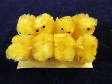"""Millinery 1"""" Yellow Chick Chenille Bird Trim Collection 8 pc Lot  H2995"""